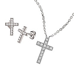 Ingenious - Silver cross necklace and earrings set encrusted with cubic zirconia stones