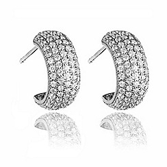 Ingenious - Silver hoop earrings encrusted with cubic zirconia stones