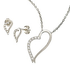 Ingenious - Silver open long heart necklace and earrings set encrusted with cubic zirconia stones