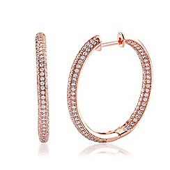 Ingenious - Rose gold hoop earrings encrusted with cubic zirconia stones