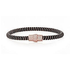 Ingenious - Black and rose gold leather bracelet with rose gold pave magnetic clasp