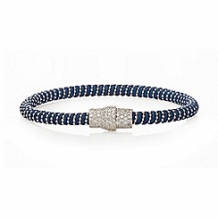 Ingenious - Blue and silver leather bracelet with silver pave magnetic clasp
