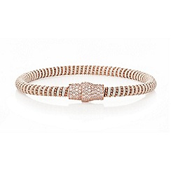 Ingenious - White and rose gold leather bracelet with rose gold pave magnetic clasp