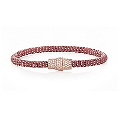 Ingenious - Raspberry and rose gold leather bracelet with rose gold pave magnetic clasp