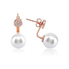 Ingenious - Rose gold pearl swing earring with pave disc encrusted with cubic zirconia stones
