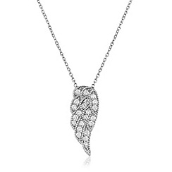 Ingenious - Silver necklace with pave angel wing encrusted with cubic zirconia stones