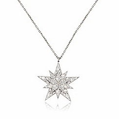 Ingenious - Silver necklace with layered pave star encrusted with cubic zirconia stones