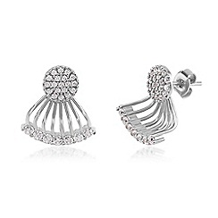 Ingenious - Silver ear jackets with pave circles and fan of cubic zirconia stones