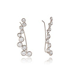 Ingenious - Silver ear bar with pave wave and cubic zirconia stones
