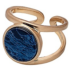 Pilgrim - Rose gold plated and blue adjustable ring