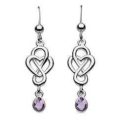 Heritage - Sterling silver celtic looped amethyst drop heart earrings