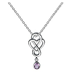 Heritage - Sterling silver celtic looped amethyst drop heart necklace