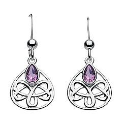 Heritage - Sterling silver celtic looped amethyst teardrop earrings