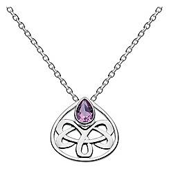 Heritage - Sterling silver celtic looped amethyst teardrop necklace