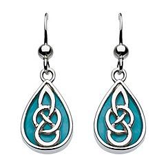 Heritage - Sterling silver celtic turquoise teardrop earrings