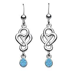 Heritage - Sterling silver celtic looped drop heart earrings