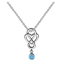 Heritage - Sterling silver celtic looped blue synthetic opal drop heart necklace