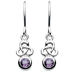 Heritage - Sterling silver celtic amethyst trinity knot stone drops