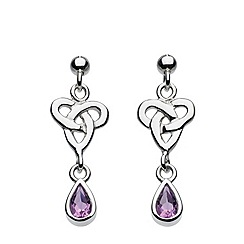 Heritage - Sterling silver celtic trio knot with amethyst earrings