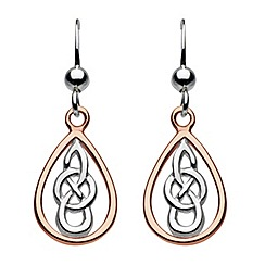 Heritage - Sterling silver rose gold celtic teardrop earrings