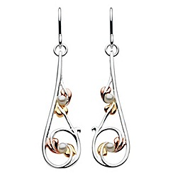 Heritage - Sterling silver mixed gold leaves and pearl earrings