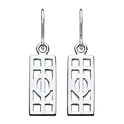 Heritage - Sterling silver mackintosh open oblong drop earrings