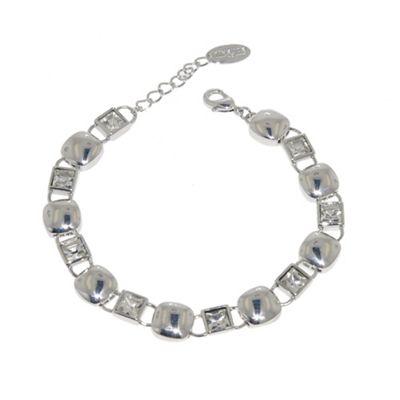 Finesse Silver cubic zirconia cushion bracelet - . -