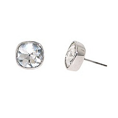 Finesse - Silver cubic zirconia cushion earrings
