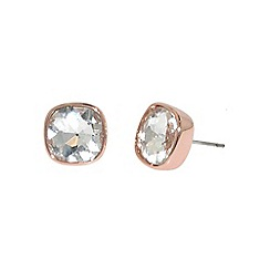 Finesse - Rose gold plated cubic zirconia cushion earrings