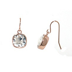Finesse - Rose gold plated cubic zirconia cushion hook earrings