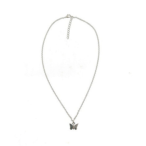 Finesse - Rhodium small butterfly pendant necklace