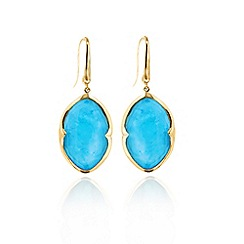 Missoma - 18ct gold vermeil small drop earrings with turquoise doublet