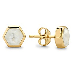 Missoma - Gold bolt stud earring with rainbow moonstone