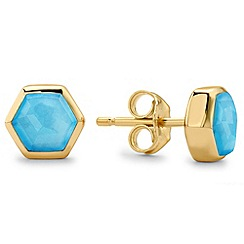 Missoma - 18ct gold vermeil bolt stud earring with turquoise