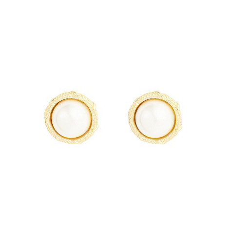 Finesse - Gold domed pearl earrings