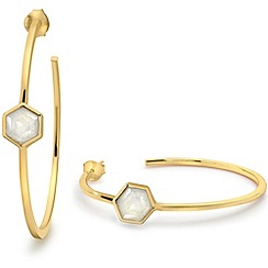 Missoma - 18ct gold vermeil bolt hoop earrings with rainbow moonstone