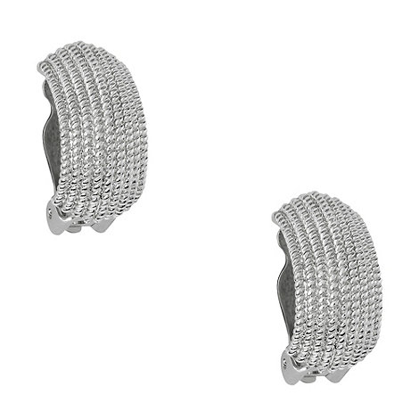 Finesse - Silver textured semicircular hoop earrings