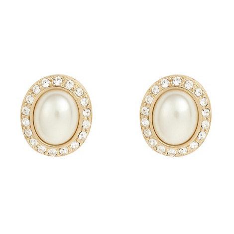 Finesse - Gold swarovski oval pearl earrings