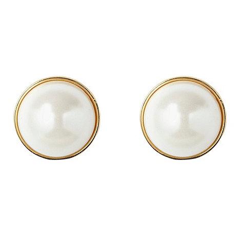 Finesse - Gold half pearl stud earrings