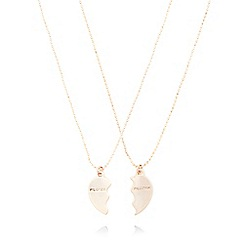 Pilgrim - Set of two rose gold plated broken heart necklaces