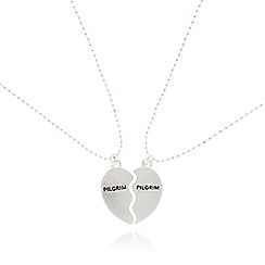 Pilgrim - Set of two silver plated broken heart necklaces