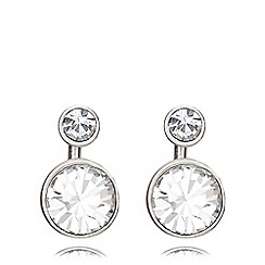 Pilgrim - Silver plated 2-in-1 crystal earrings