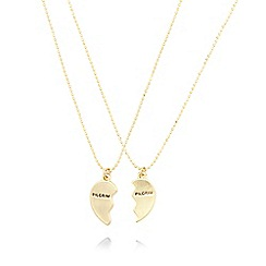 Pilgrim - Set of two gold plated broken heart necklaces