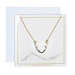 Johnny loves Rosie - Gold antler necklace gift card