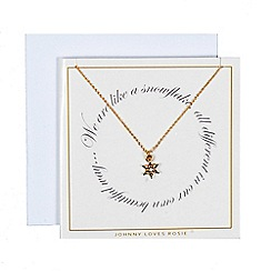 Johnny loves Rosie - Gold snowflake necklace gift card