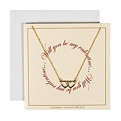 Johnny loves Rosie - Gold double heart necklace valentines gift card