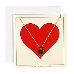 Johnny loves Rosie - Gold heart necklace valentines gift card
