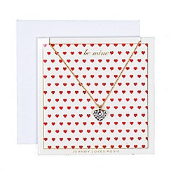 Johnny loves Rosie - Gold embellished heart necklace gift card