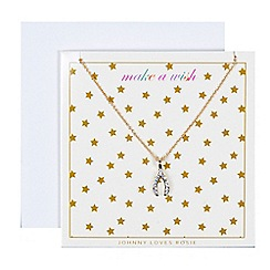 Johnny loves Rosie - Gold embellished horsehoe wishbone gift card