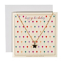 Johnny loves Rosie - Gold star necklace birthday gift card